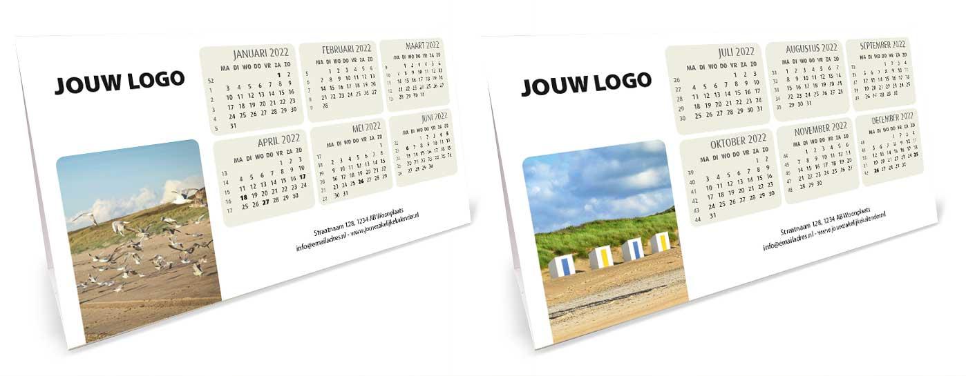 Bureaukalender driehoekskalender liggend 2022. Thema strand